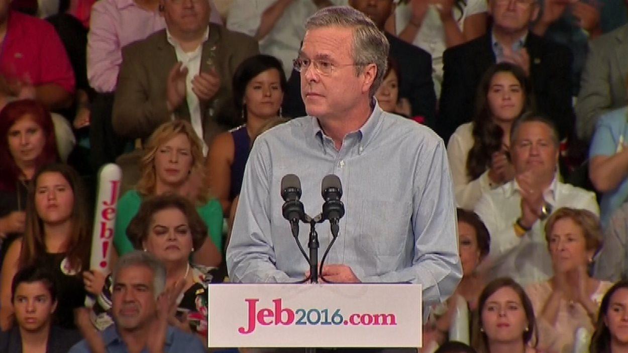 Jeb Bush, lançant officiellement sa candidature à la présidentielle américaine.