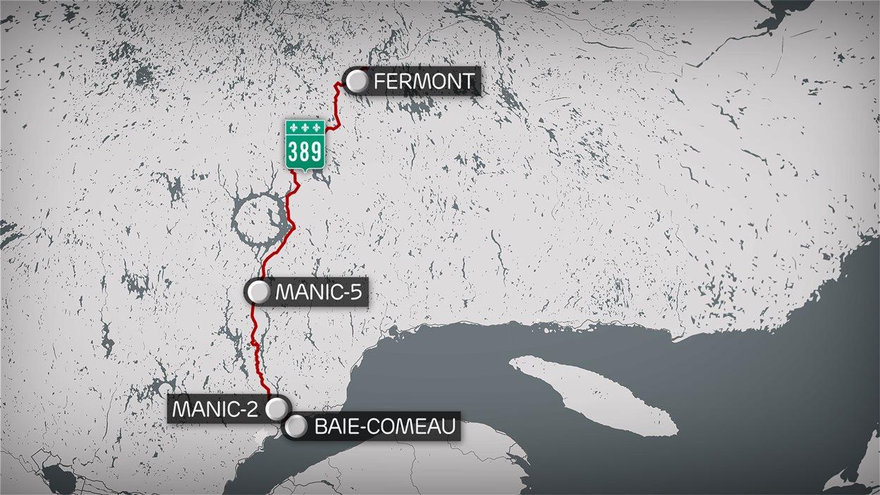 Une carte de la route 389 de Baie-Comeau à Fermont