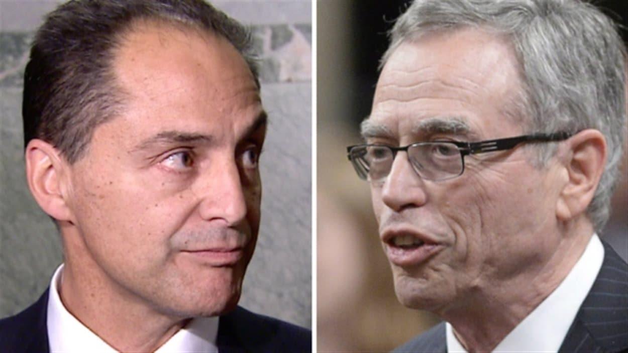 Le ministre albertain des Finances Joe Ceci  (à gauche) et son homologue fédéral Joe Oliver.