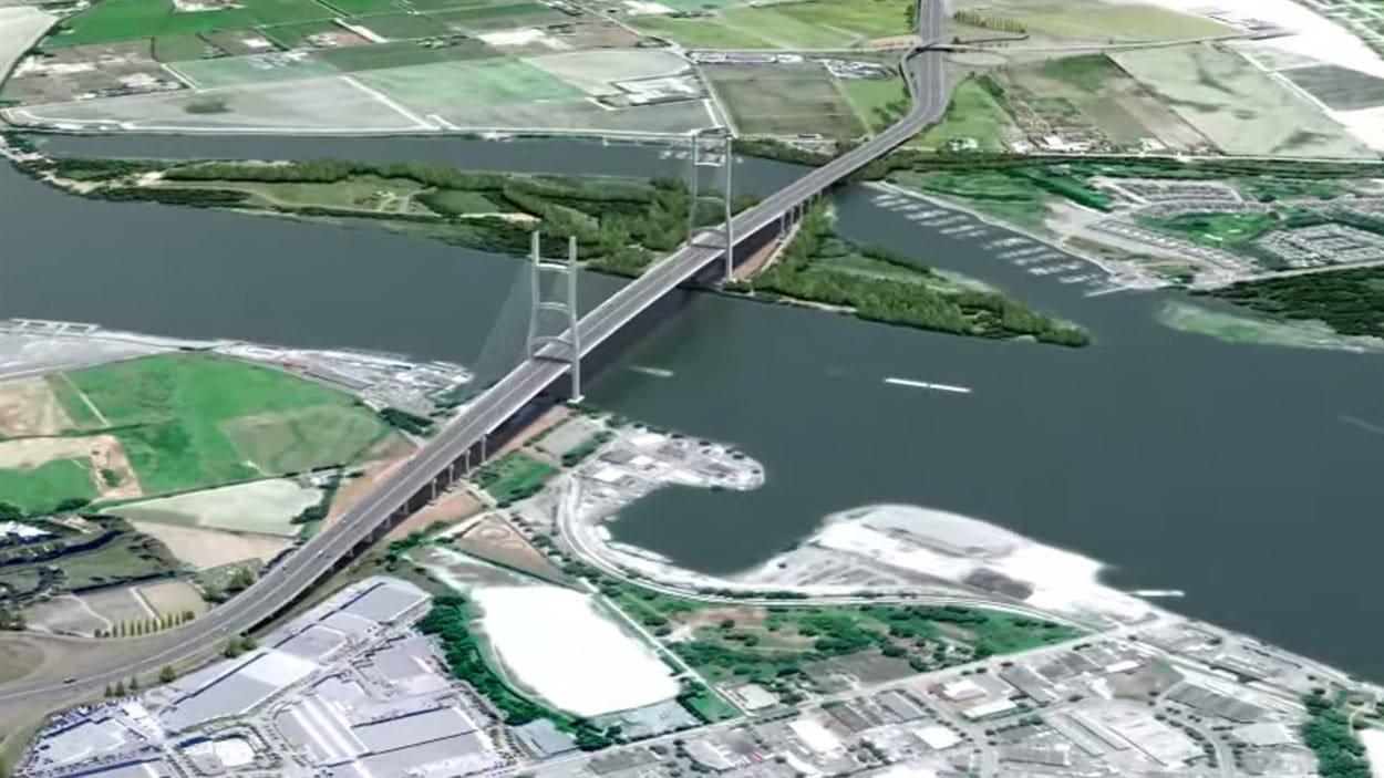 Image représentant le pont qui pourrait remplacer le tunnel George Massey.