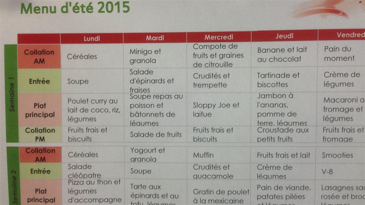Le menu d'été au CPE la Vallée des loupiots