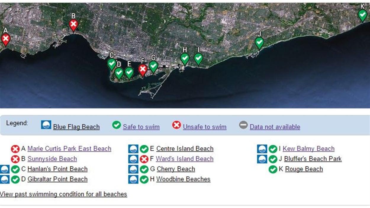 La baignade est déconseillée à trois plages de Toronto en raison d'une plus forte concentration de la bactérie E. coli.