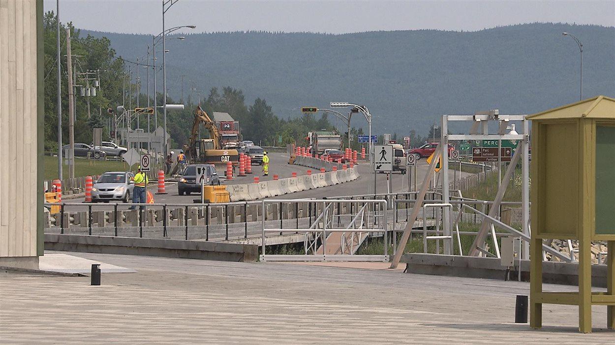 Les travaux effectués sur la route près du site historique Gaspé, Berceau du Canada