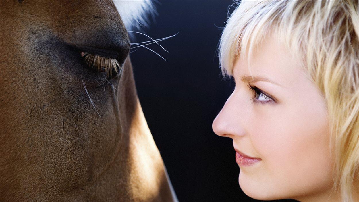 Une femme et un cheval se regardent dans les yeux
