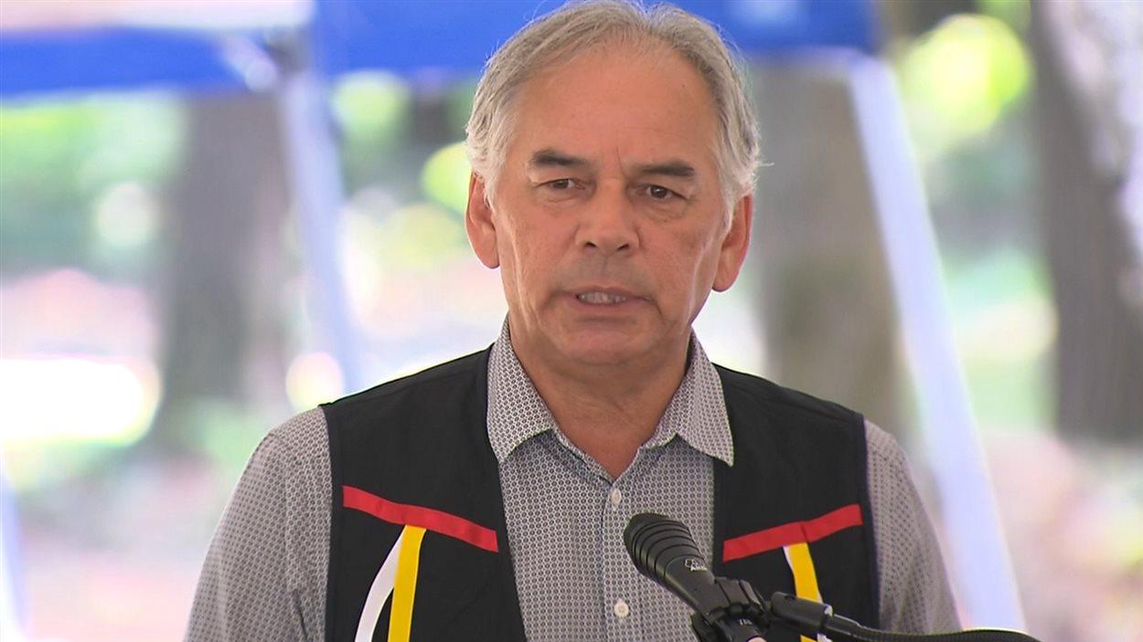 Le chef de l'Assemblée des Premières Nations pour le Québec et le Labrador, Ghislain Picard, lors des cérémonies à Oka.