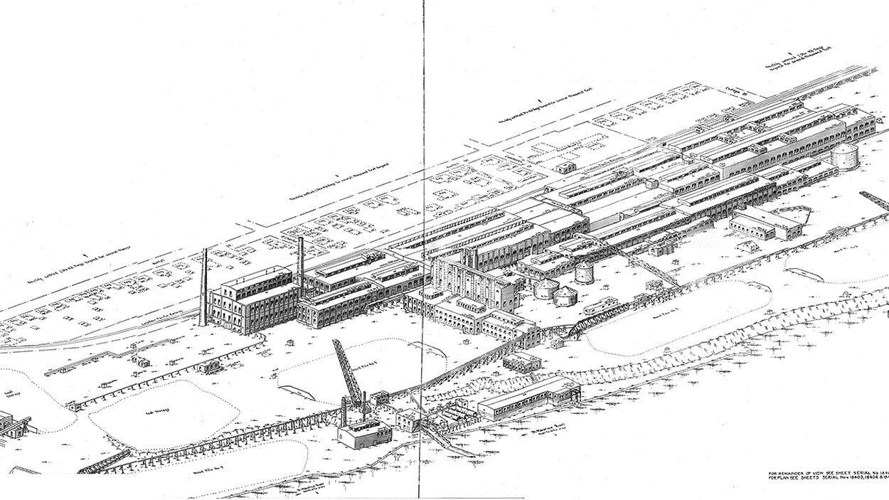 Le plan projeté pour l'usine de pâtes et papiers de la Canadian International Paper en 1925