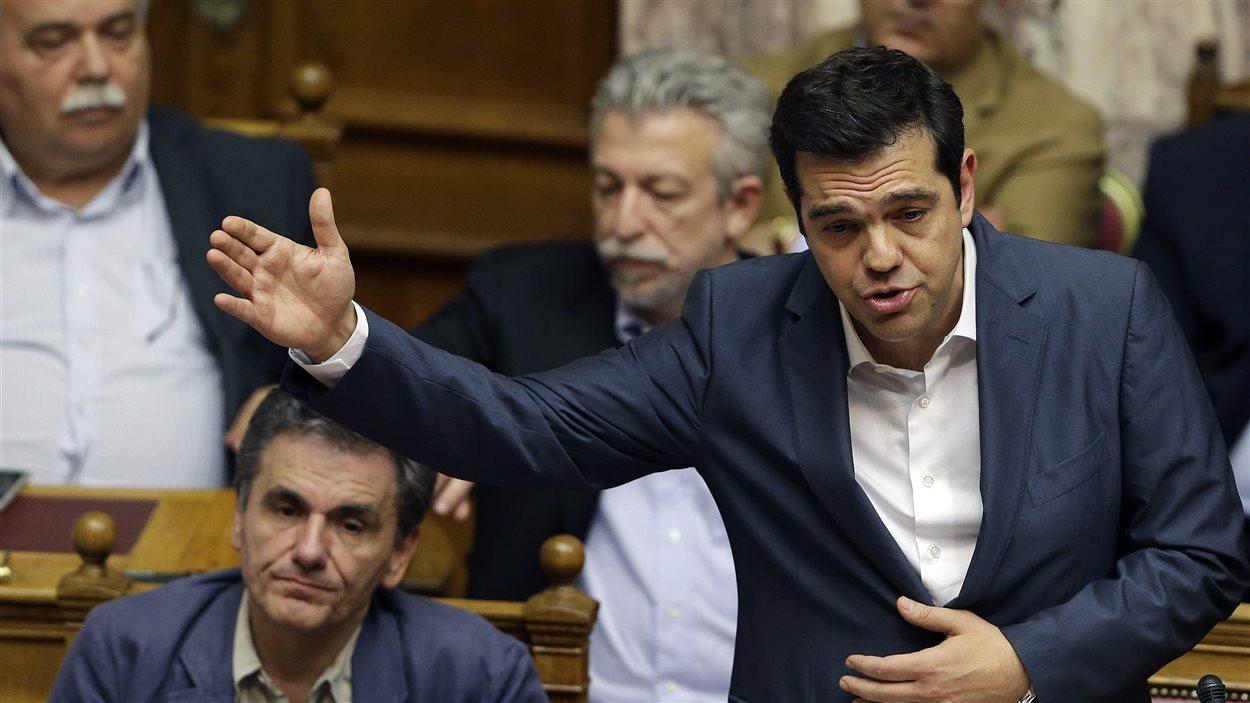 Le premier ministre Tsipras jour du vote au parlement grec
