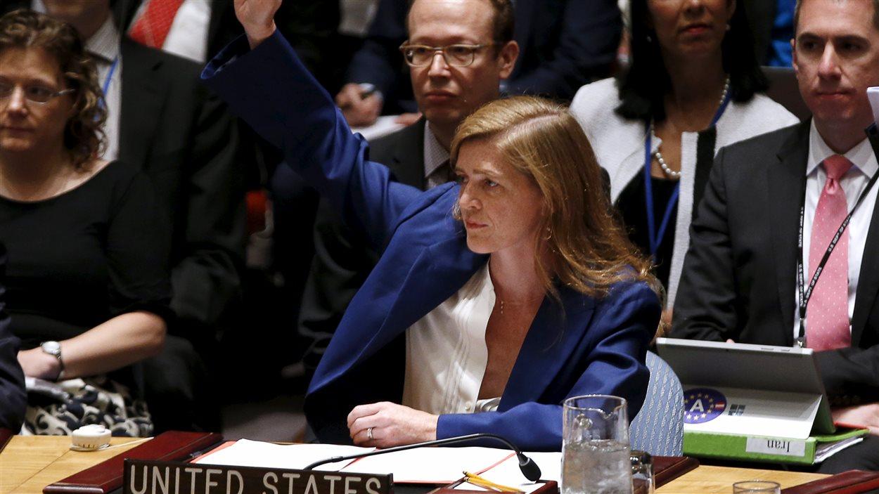 L'ambassadrice des États-Unis à l'ONU, Samantha Power, lors du vote du Conseil iranien sur l'accord sur le nucléaire iranien.