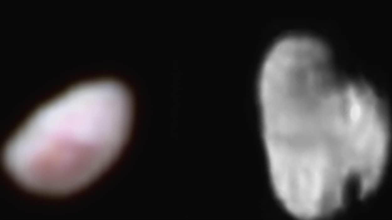 Nix et Hydre, les deux plus petites lunes de Pluton, vues par la sonde New Horizons.