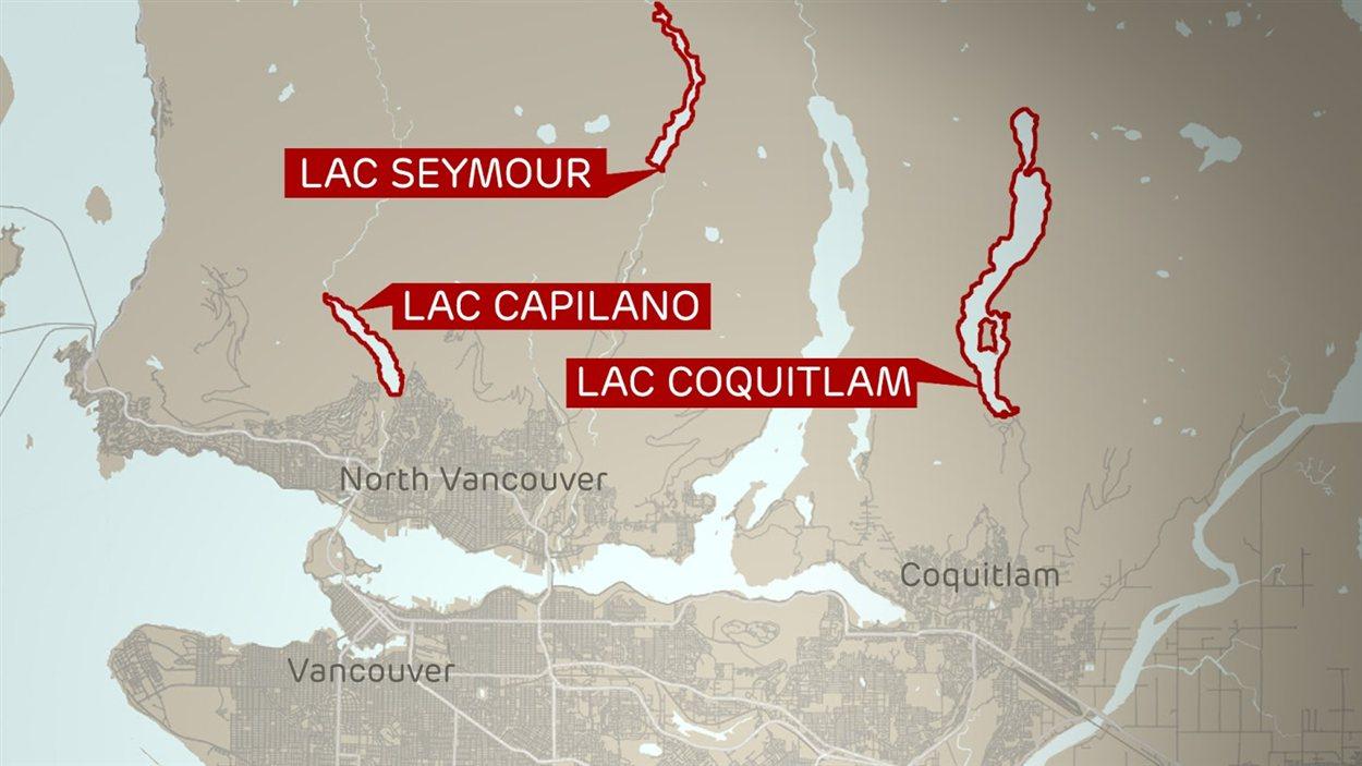 Les réservoirs d'eau de la région du Grand Vancouver. (Source : Metro Vancouver)