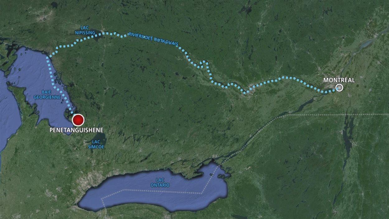 L'itinéraire de Samuel de Champlain en 1615.