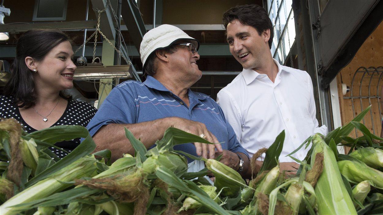 Justin Trudeau rencontre des citoyens dans un marché, à Montréal, le 31 juillet.