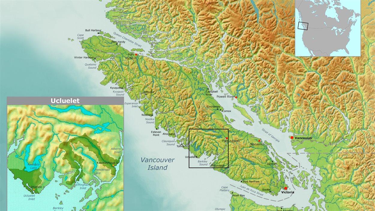 Localisation de Ucluelet, côte ouest de l'Île de Vancouver