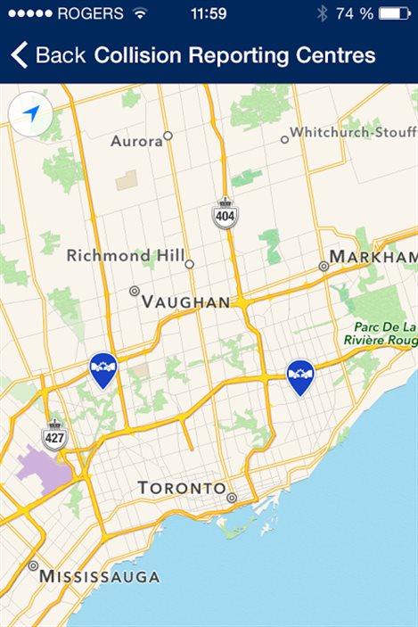 L'application permet notamment de rapporter les collisions à Toronto.