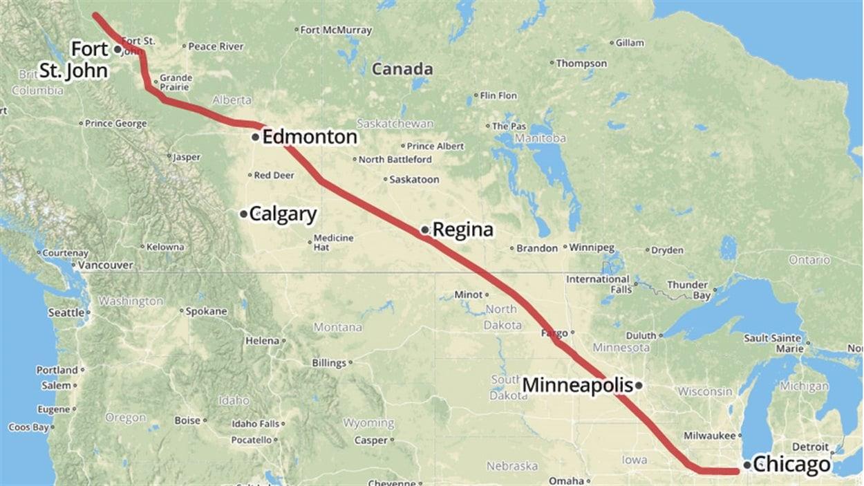 Une ligne rouge indicant le pipeline de gaz naturel de Alliance Pipeline