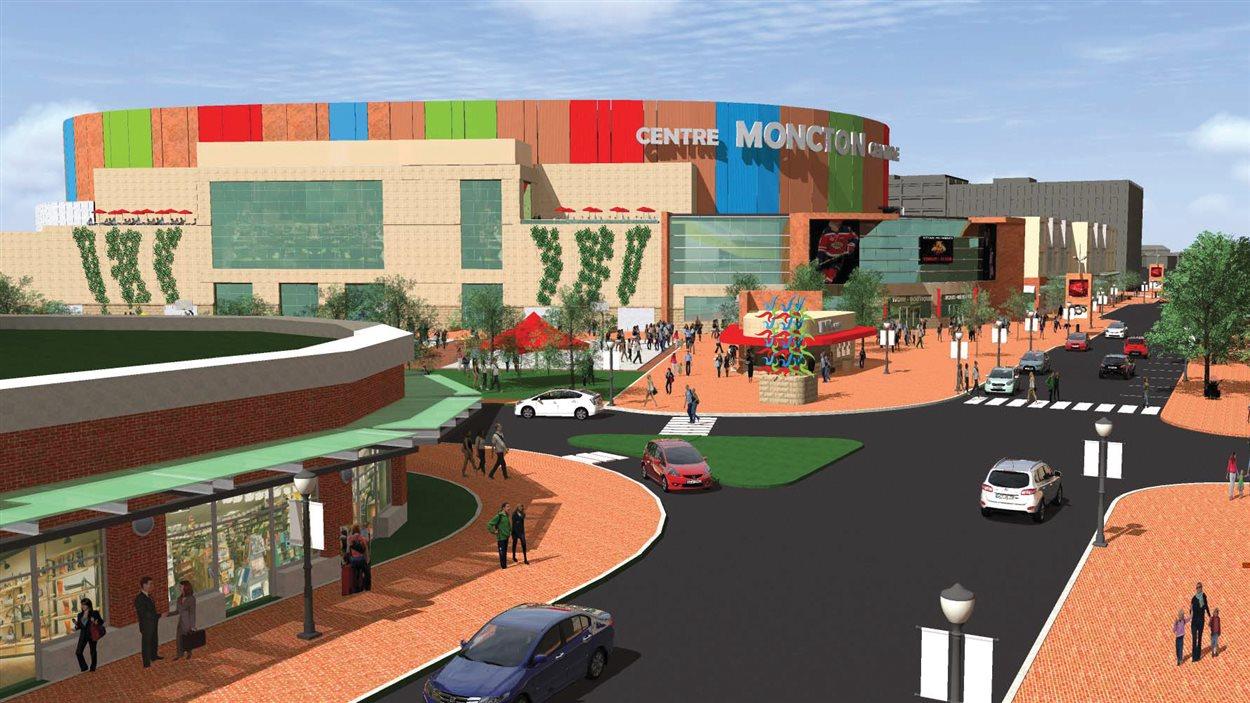 Les plans de construction du centre multifonctionnel du centre-ville de Moncton.