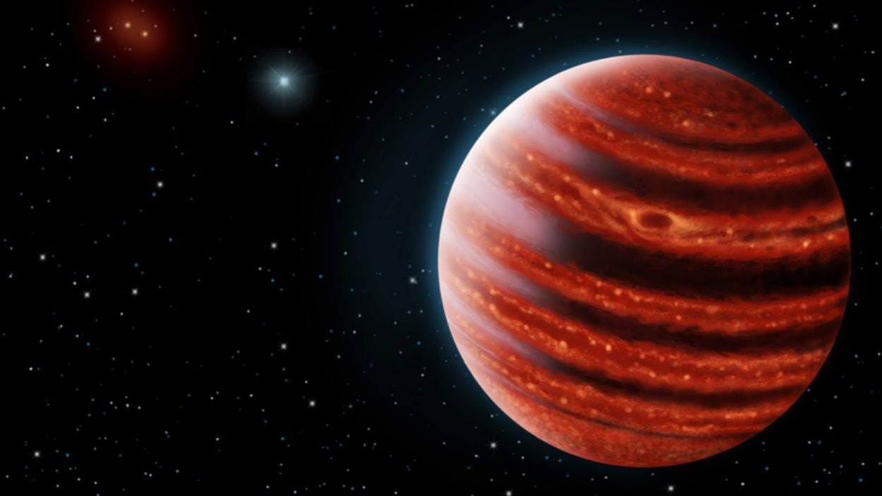 Une conception artistique de l'exoplanète de type Jupiter, vue à la lumière infrarouge, dont les couches chaudes profondes dans son atmosphère sont visibles à travers les nuages.