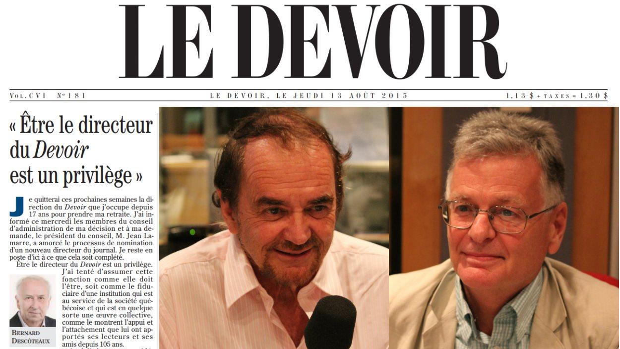L'ex-éditorialiste au Devoir Michel Nadeau et l'ex-journaliste au Devoir Claude Lévesque discute de l'avenir de ce quotidien.