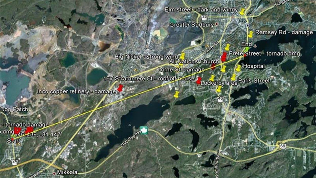 La trajectoire de la tornade de Sudbury