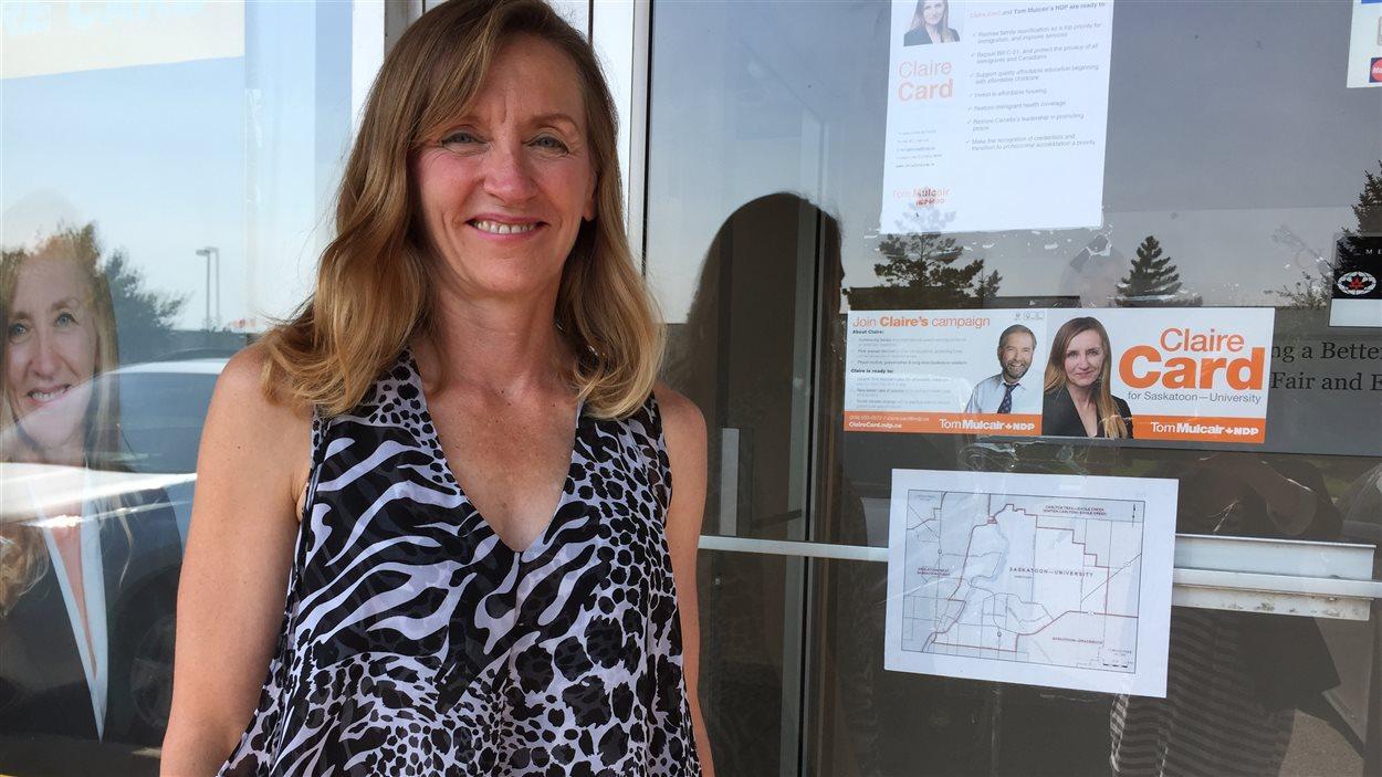 La candidate néo-démocrate dans Saskatoon-University, Claire Card.