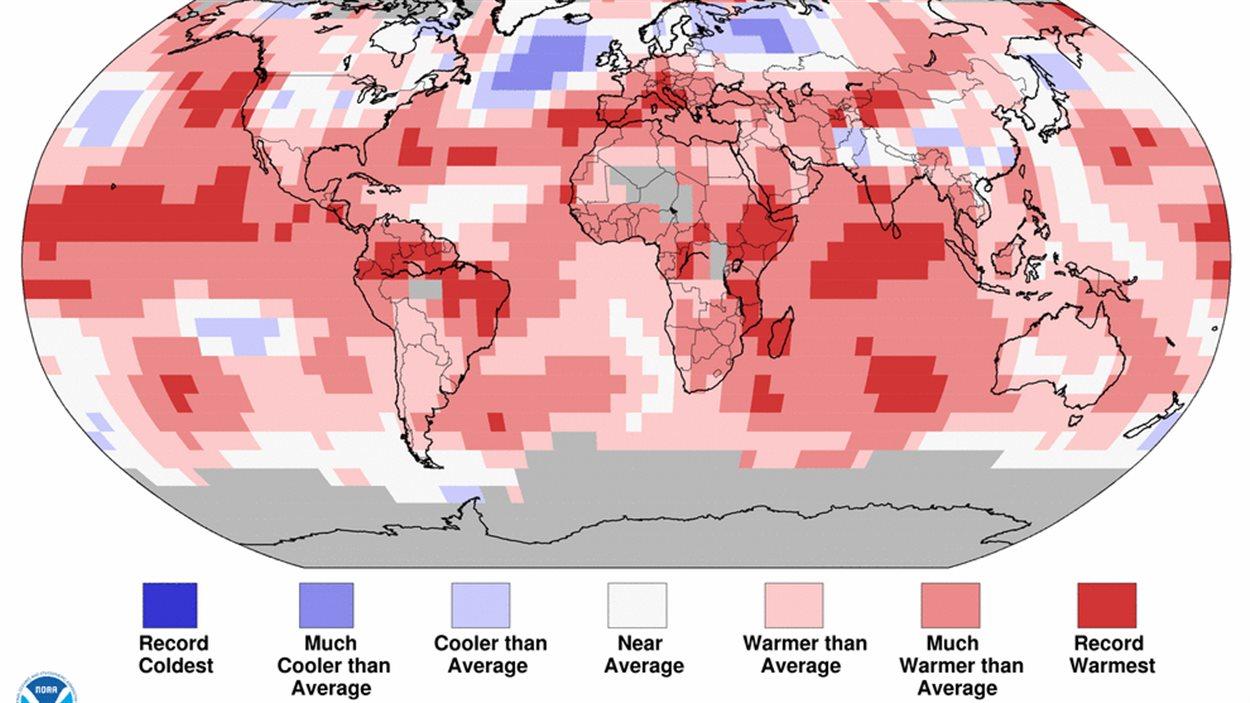 Certaines zones de la planète se sont plus réchauffées que d'autres, selon l'Agence NOAA.