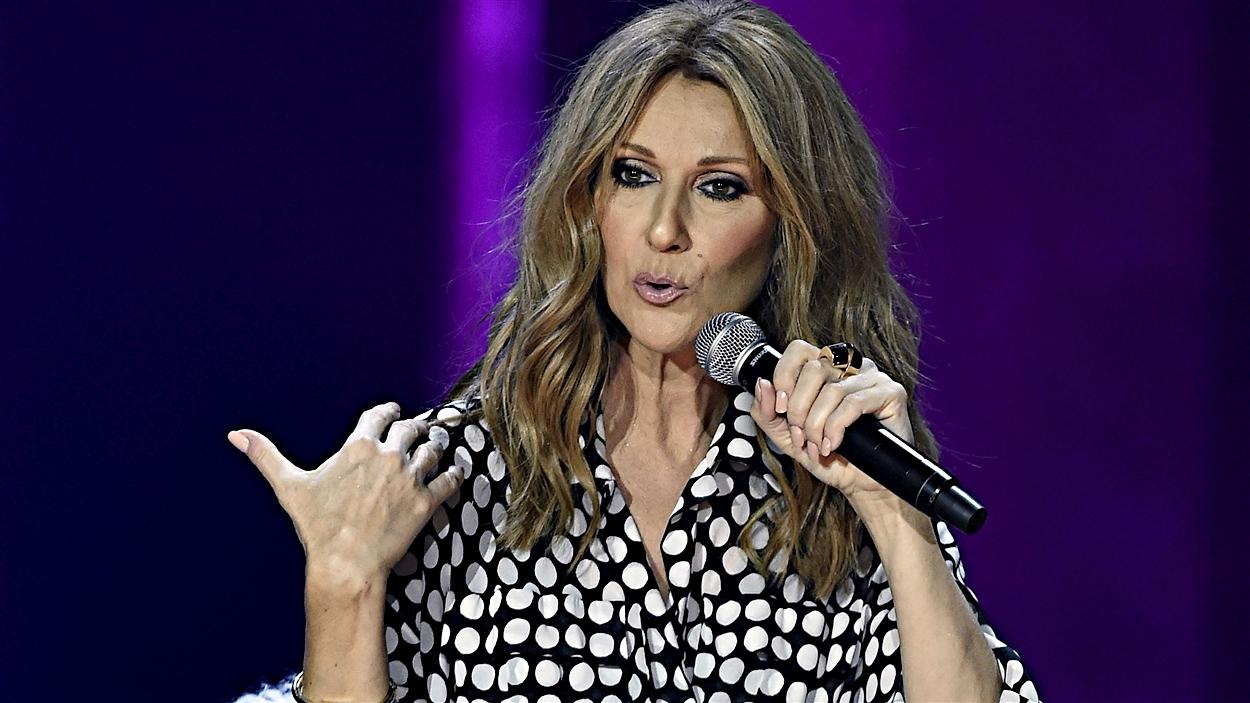 Céline Dion en conférence de presse, avant son retour sur scène