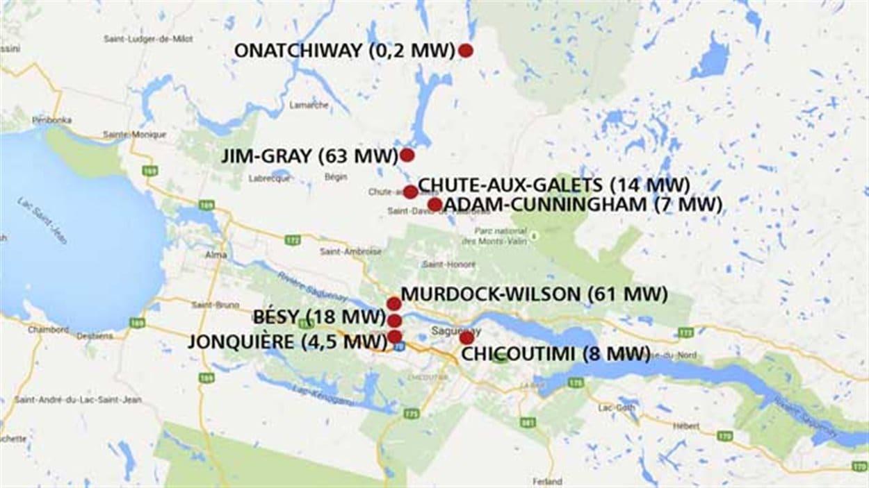 Les centrales d'Hydro-Saguenay, au Saguenay-Lac-Saint-Jean