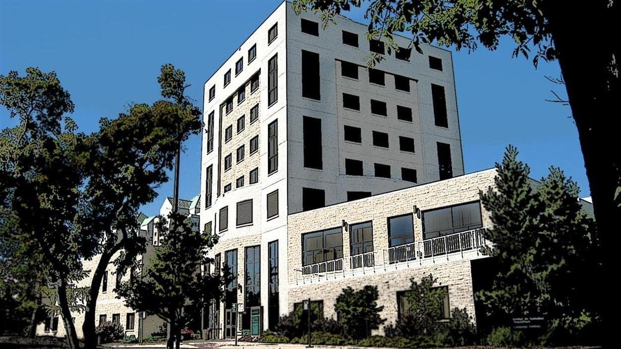 Bâtiment de la Cité universitaire francophone à l'Université de Regina en Saskatchewan