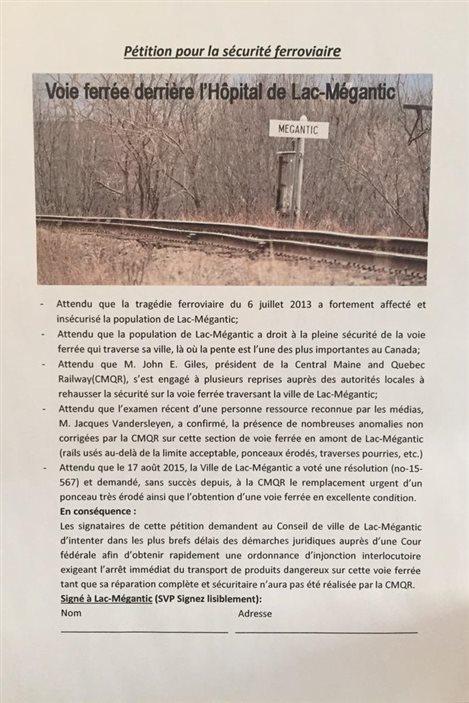 Pétition pour la sécurité ferroviaire