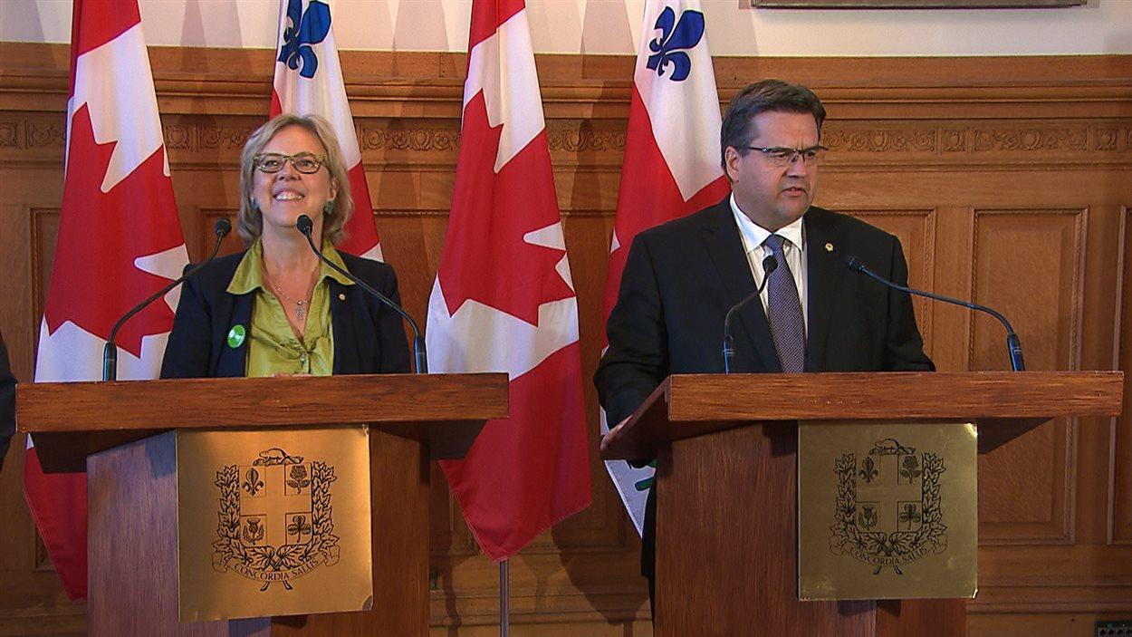 La chef du Parti vert du Canada, Elizabeth May, répond favorablement à bien des demandes du maire de Montréal, Denis Coderre.
