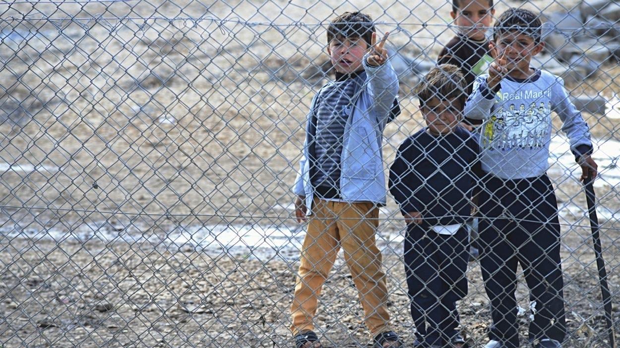 Quatre enfants de toutes tailles, syriens, dans un camp derrière des barbelés