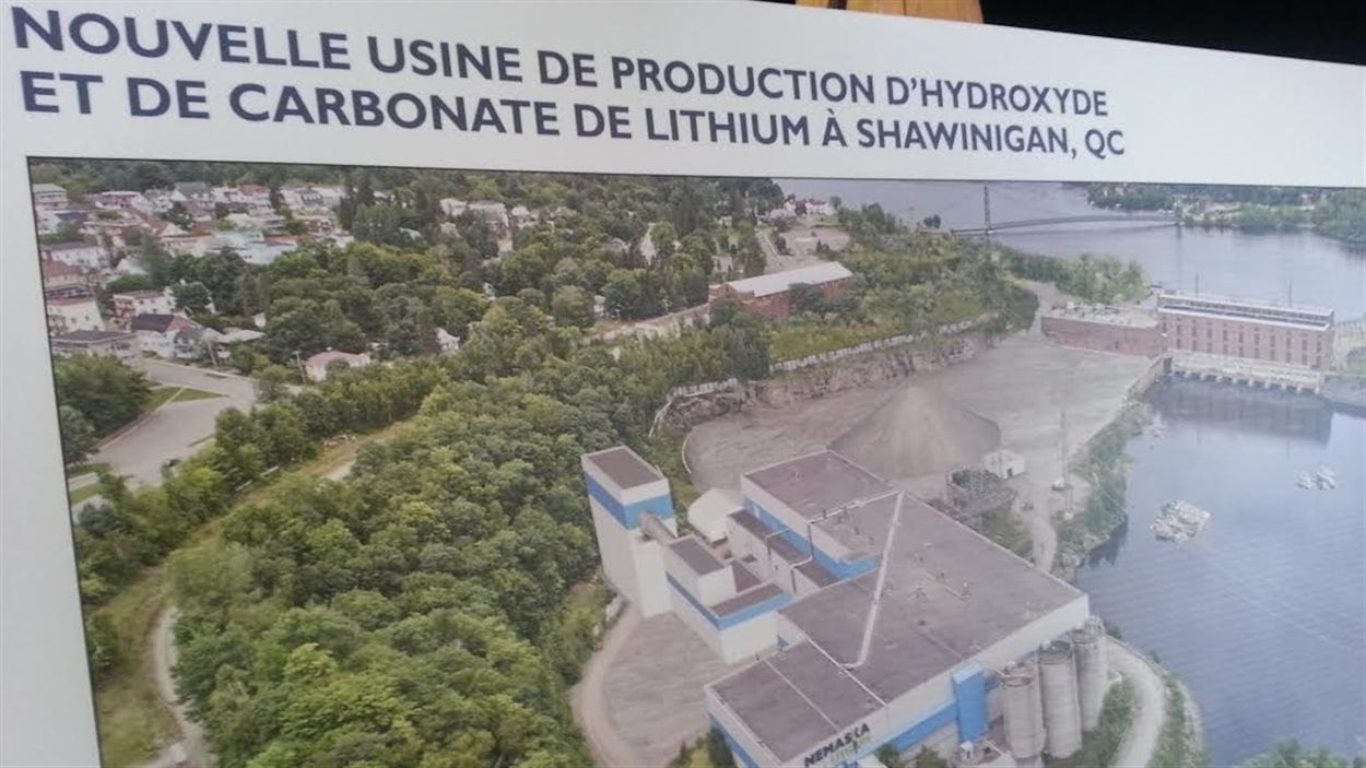 Le projet d'usine de production d'hydroxyde et de carbonate de lithium à Shawinigan