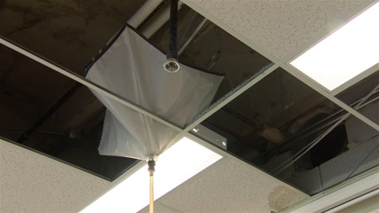 Des bâches et des tuyaux sont installés en appoint au plafond de certaines classes.