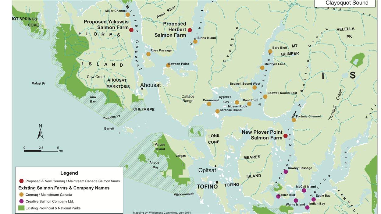 En rouge, les sites d'enclos d'aquaculture planifiés au sein de la réserve de la biosphère de l'UNESCO Clayoquot Sound