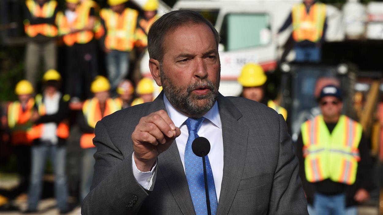 Thomas Mulcair a fait son annonce électoral dans un centre de formation pour opérateurs de machinerie, à Winnipeg.
