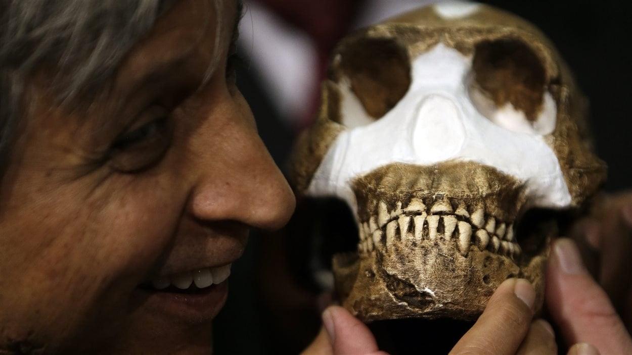 La professeure Adam Habib tient un crâne reconstitué d'Homo naledi lors de l'annonce de la découverte, à Magaliesburg, en Afrique du Sud.
