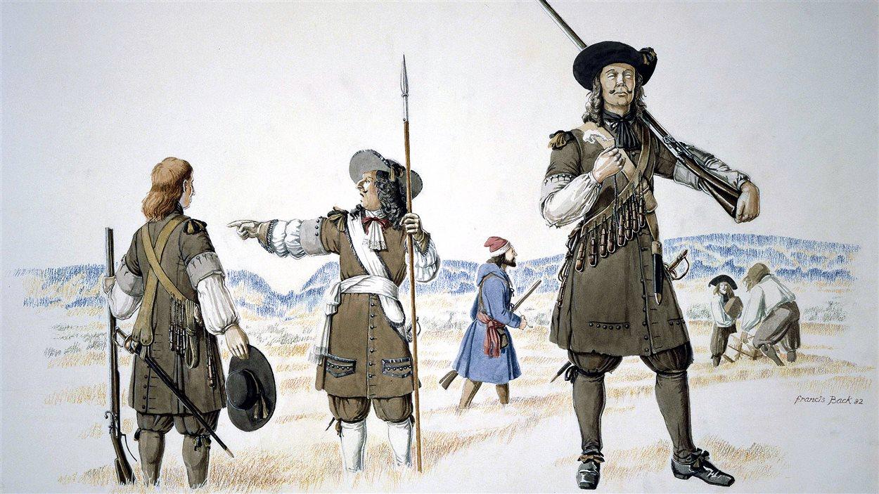 Officier et soldats du régiment de Carignan-Salières