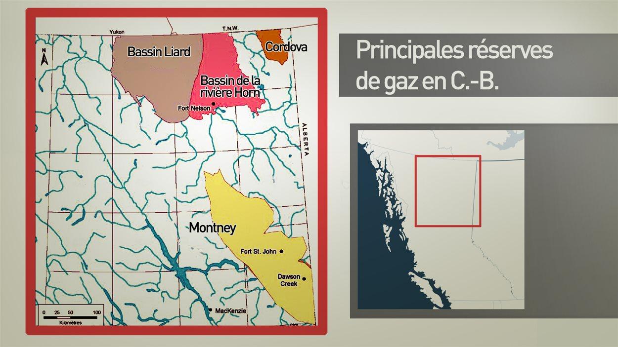 Carte des principales r/serves de gaz en C.-B.