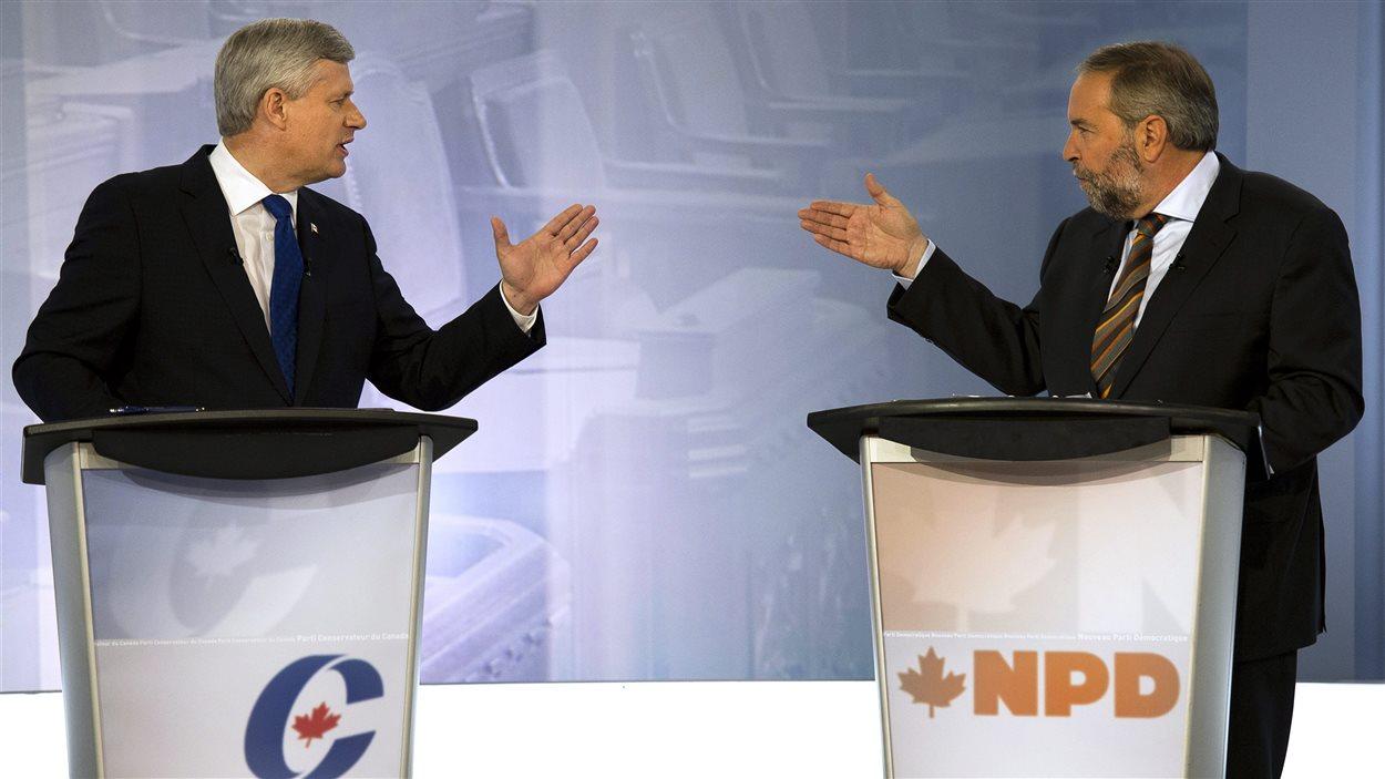 Stephen Harper et Thomas Mulcair lors du débat des chefs en français