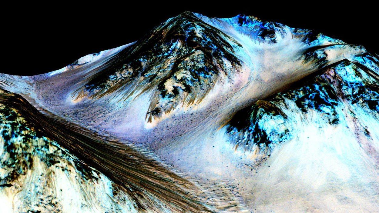 Ces étroites et sombres traînées de 100 mètres de long sur Mars auraient été formées par l'écoulement de l'eau.