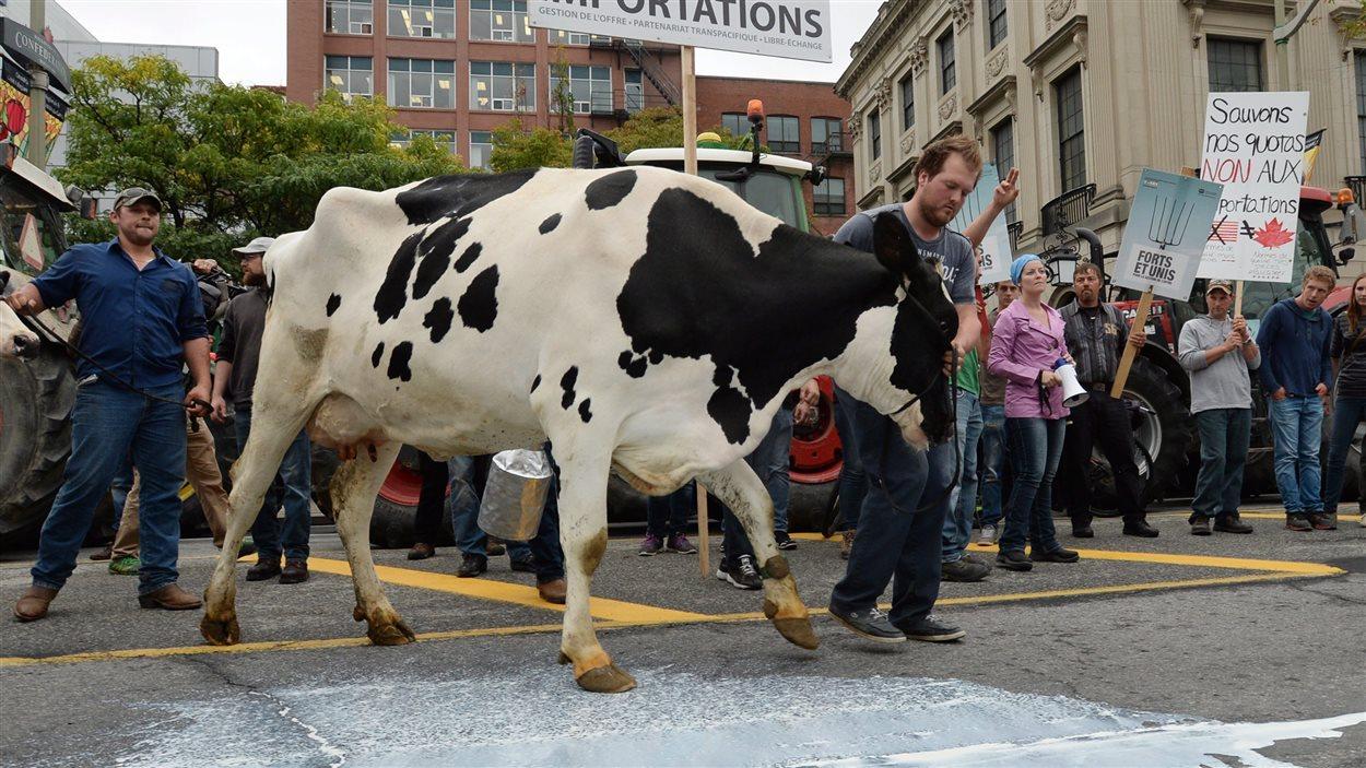 Manifestation de producteurs agricoles qui craignent la fin du système de gestion de l'offre, à Ottawa, le 29 septembre.