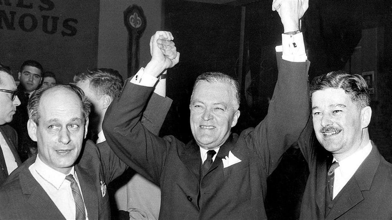 René Lévesque, Jean Lesage et Paul Gérin-Lajoie, en 1962