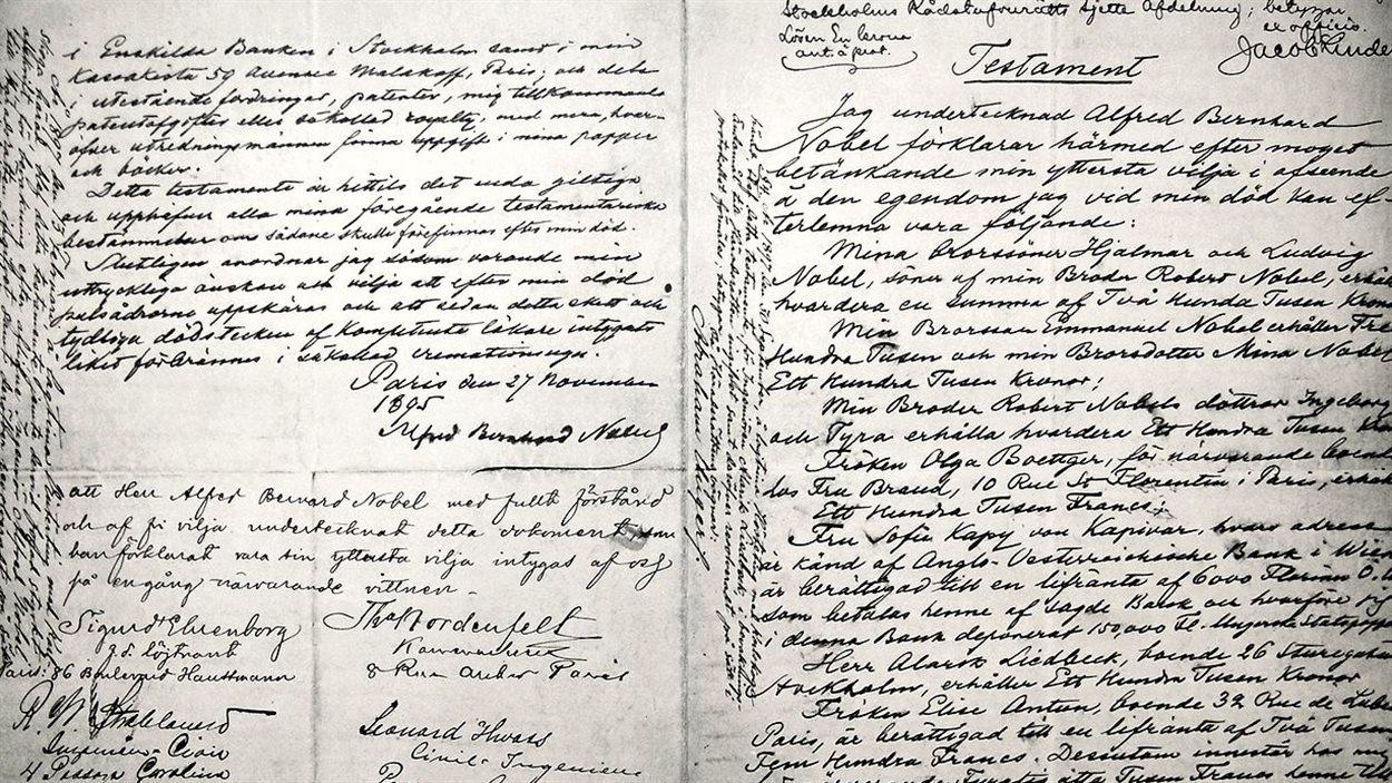 Le testament d'Alfred Nobel