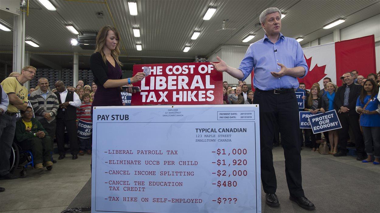 Stephen Harper a fait appel à une électrice pour démontrer sa vision de l'impact de l'approche libérale.