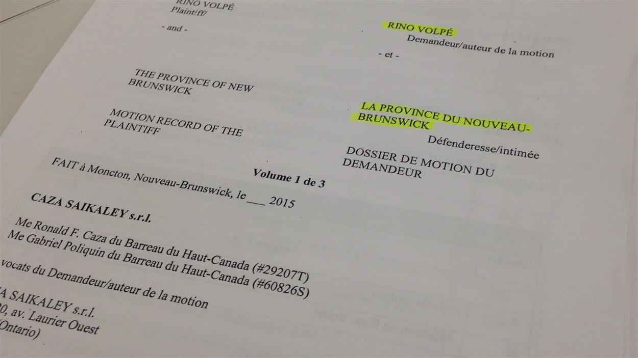Rino Volpé poursuit le gouvernement du Nouveau-Brunswick.