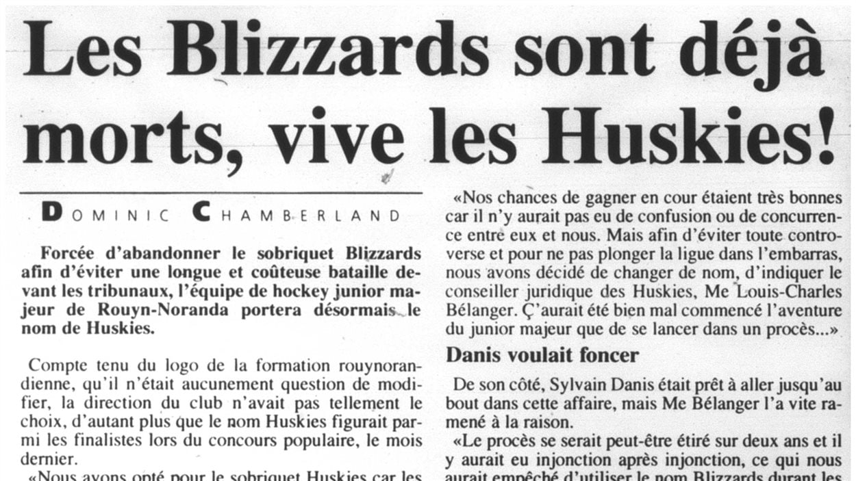 Un article du journal La Frontière annonçant le changement de nom de l'équipe