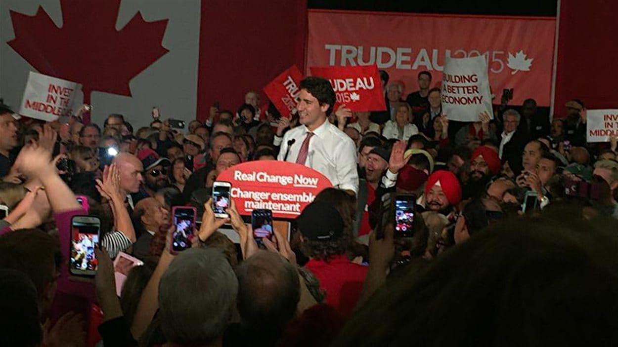 Le chef libéral Justin Trudeau lors d'un rassemblement à Winnipeg.