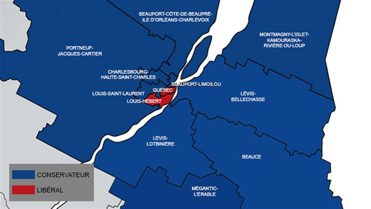 Carte des résultats électoraux dans la région de Québec.
