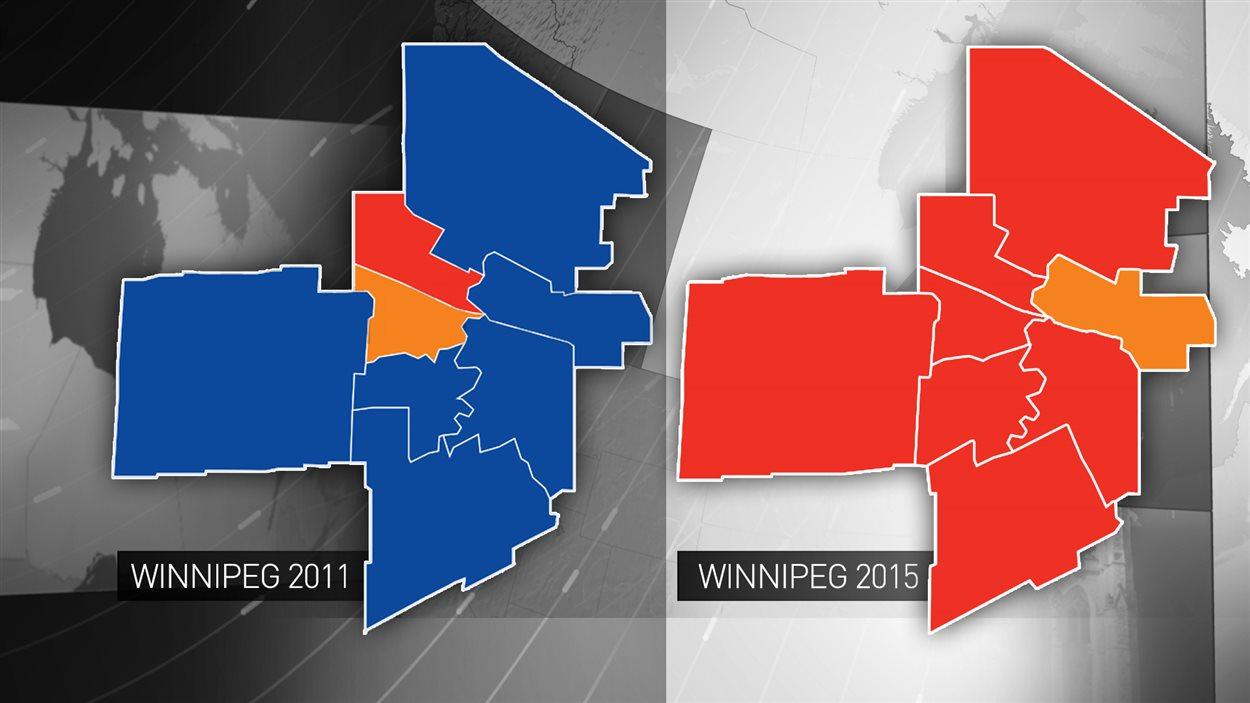 Résultats des élections à Winnipeg en 2011 et en 2015