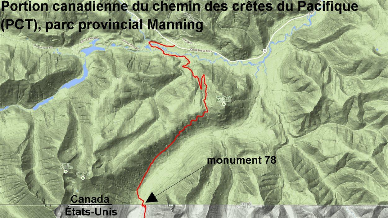 Carte illustrant la portion canadienne du chemin des crêtes du Pacifique dans le parc provincial Manning et l'emplacement du monument 78 sur la frontière canado-américaine.